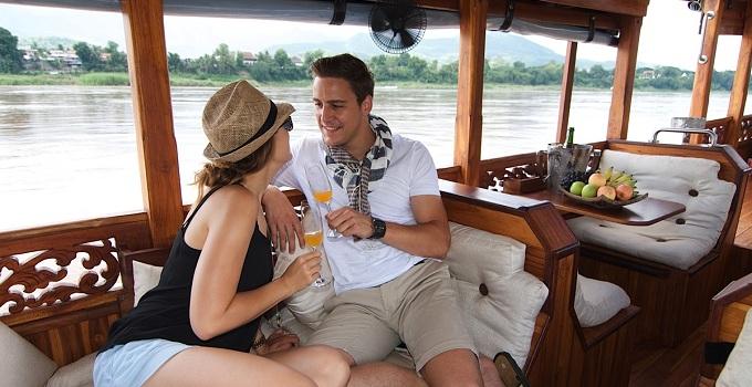 Gita in barca sul fiume di Mekong