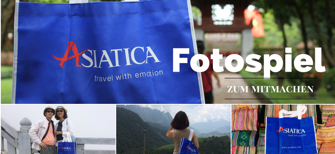 Fotospiel mit der blauen Stofftasche von Asiatica