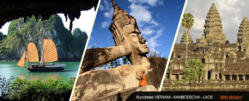 Kombireise durch Vietnam-Laos-Kambodscha