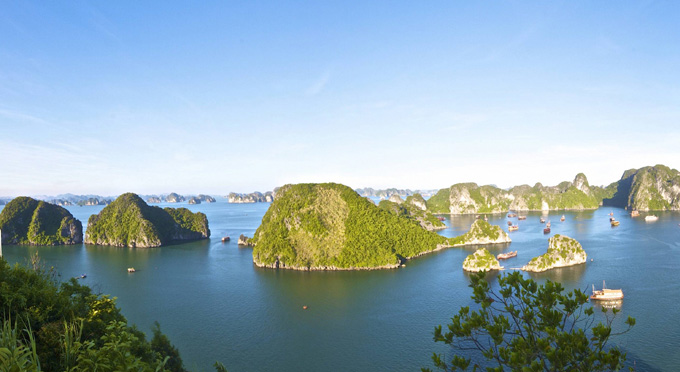 Halong Bay at panorama view