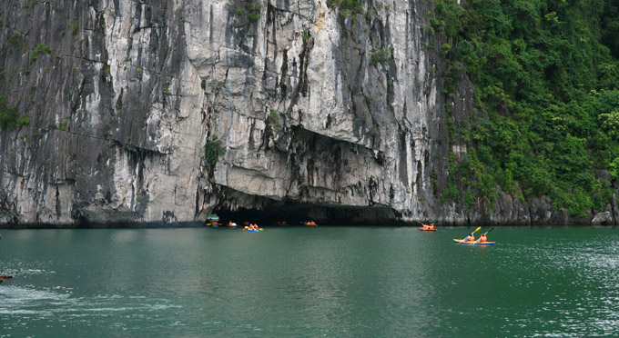 Kayaking to inside of the cave