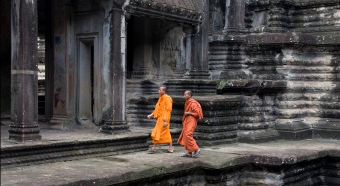 Mönche in der Angkor Wat Tempelanlage
